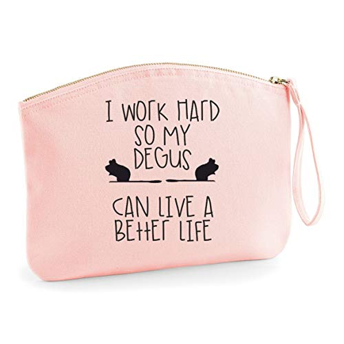 I work hard so My Degus can have a better life make up bag - organic cosmetic wristlet case - pink, small