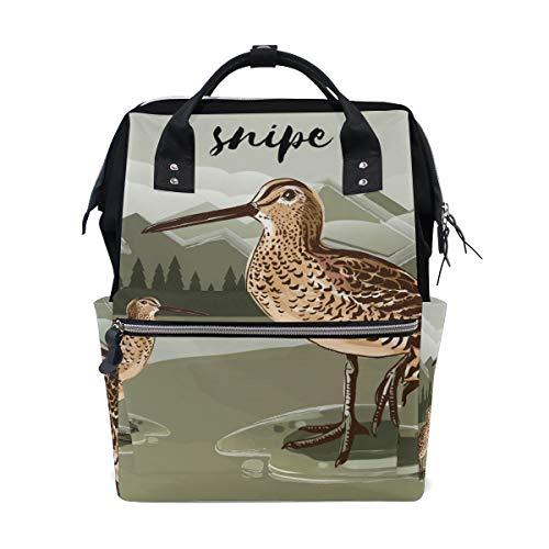 Snipe Bird Mochila Escolar de Gran Capacidad, Bolsa de Mano para Ordenador portátil, Casual, de Viaje, para Mujeres, Hombres, Adultos, Adolescentes, niños