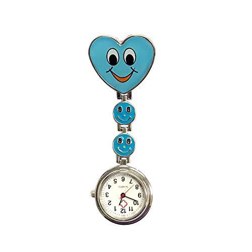 NiceButy - Reloj de enfermera, diseño de corazón de cuarzo, con clip de enfermera, con pasador de emoticono, color azul
