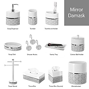 Creative Scents Mirror Damask Decorative Shower Curtain Hooks- Set of 12- Rust Resistant Bathroom Shower Rings, Smooth Gliding Mechanism- For Elegant Bathroom Decor (Gray & White)