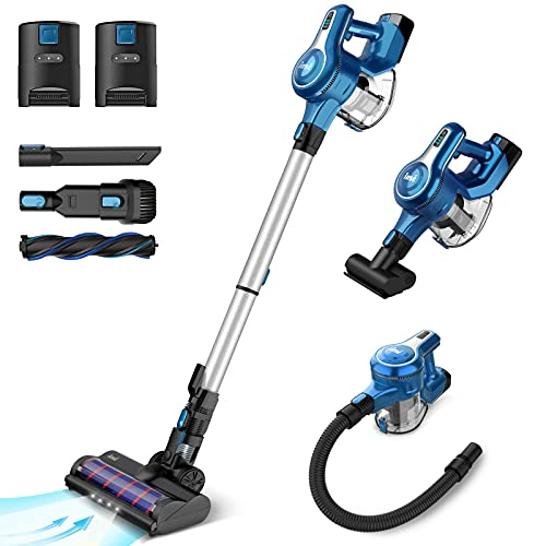 INSE S6P Cordless Vacuum Cleaner with 2 Batteries, Up to 80min Run-time Rechargeable Stick Vacuum,...
