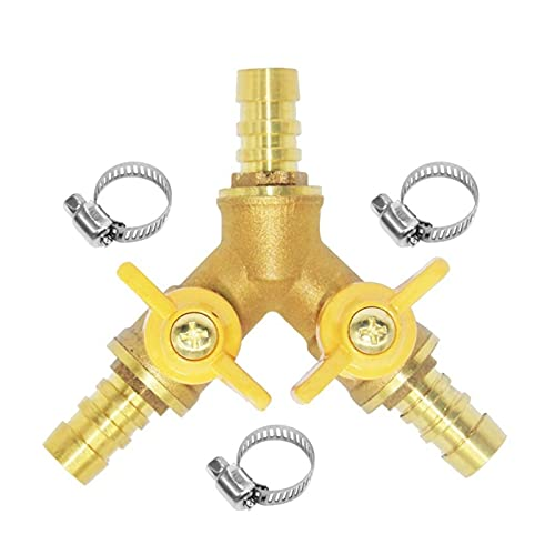 XIAOSHI Válvula de Tres Vías Tubo de Tres vías Interruptor Doble de Doble Interruptor BR y válvula en Forma de y válvula de Gas con Forma de Gas para Gas Válvula de Desvío de 3 vías (Color : Gold)