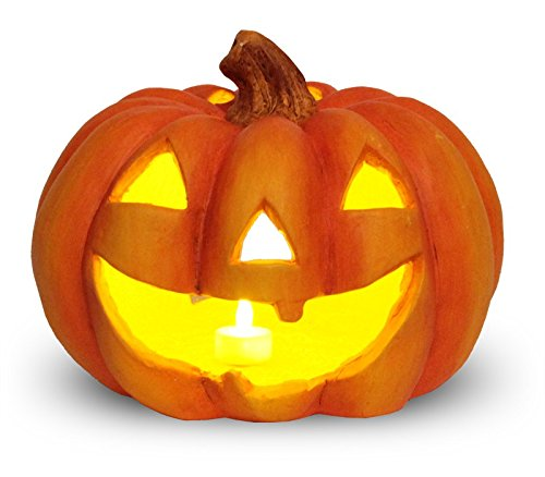 matches21 Jack O' Lantern Halloween Kürbis Windlicht/Laterne Halloweendeko aus Ton 27x23 cm inkl. Flacker LED-Teelicht