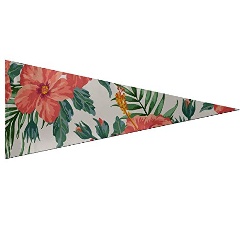 ENEVOTX University Pennants Tropical Hawaiian Plumeria and Hibiscus Flowers Pennant Flag Banner Classic 12 X 30 Inch Soft and Durable for Outdoor and Indoors Decor Flags for Outside