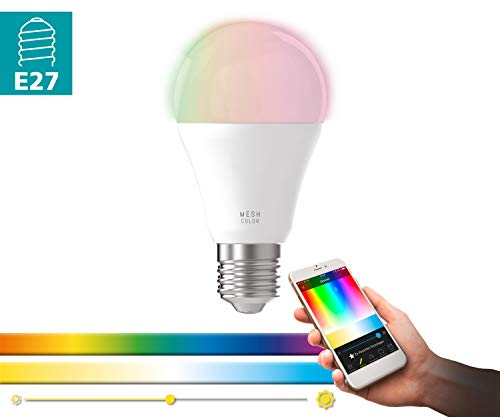 EGLO connect LED E27 Lampe, Smart Home Glühbirne, 9 Watt (entspricht 60 Watt), 806 Lumen, E27 LED dimmbar, Farbtemperatur und RGB Farben einstellbar, LED Leuchtmittel A60, Ø 6 cm
