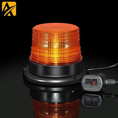 LED Rundumkennleuchte,12V-24V Gelb Rundumleuchte mit magnetischem und 16-Fuß-Kabel für Gabelstapler-Traktor Golfwagen UTV Anhänger SUV
