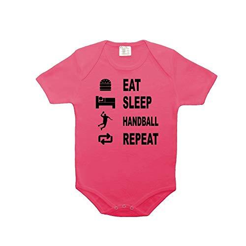 Mygoodprice Body bébé 100% Coton Eat Sleep Handball Rose 18-23 Mois
