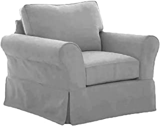 The Cotton Sofa Chair Cover Only Fits Pottery Barn PB Comfort Roll Arm Chair Or Armchair. A Durable Slipcover Replacement (L Gray Box Edge)