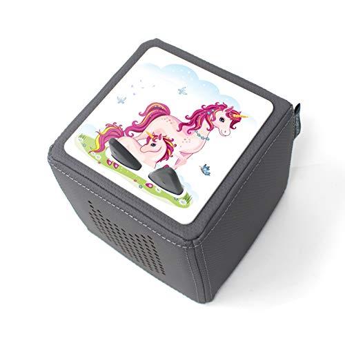 yabaduu Schutzfolie Schutzcover für Toniebox passgenau selbstklebend kindgerecht Folie Zubehör für Kinder Spielzeug (Y031-40 Einhörner, Ohne Wunschname)