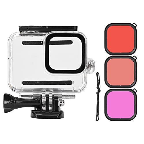 Mavis Laven 3 uds ABS portátil a Prueba de Polvo fotografía Carcasa Impermeable Estuche para Lentes de Buceo Kit de Filtro Accesorios de Buceo para GoPro 8
