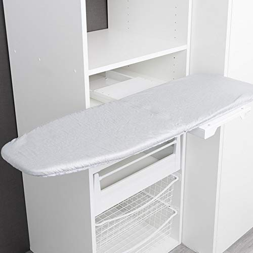 SOTECH Bügelbrett Ironfold Premium Bügeltisch für Fachbodenmontage im Schrank ausziehbar, klappbar und um 180° schwenkbar inkl. Bügeltuch Aluminium grau