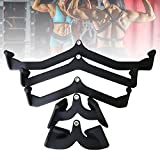 HNWTKJ Gym Cable Attachments, T Bar Row Attachmen V-Bar Bicep Tricep Exercises Rowing Machine Non Slip Exercise Handle for Home Gym