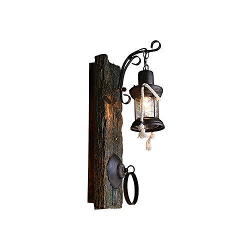 Vintage lámpara de pared industrial creatividad antigua madera luz de la pared E27 keroseno lámpara decoración de la pared escono para la sala de estar bar cafetería comedor sala de comedor Lámpara de