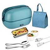 KINBEDY Electric Lunch Box Green Portable Food Warmer for Home and office 2 Layers Self Heating Lunch Box Stainless Steel Food Container Heated Bento Box for Adult Including Tableware and Bag (110V)