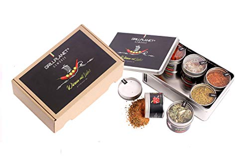 Grillplanet Grill - Braten Gewürze Set Geschenkset 6er Box mit Gewürzmischungen Geschenk für Vatertag Valentinstag Ostern, Weihnachten, Geburtstag