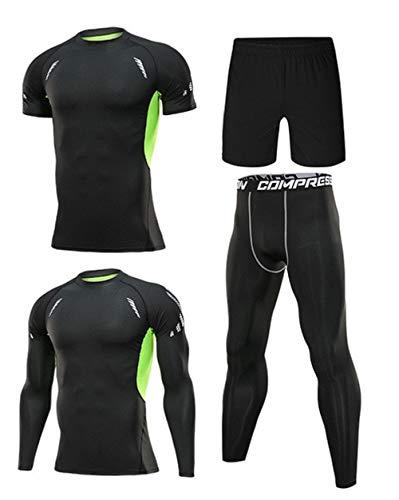 Ducomi Set 4 Pezzi Completo Uomo Allenamento Compressione, Maglia a Maniche Lunghe e T-Shirt, Pantaloni Leggins Elastico e Pantaloncini - Abbigliamento Fitness Palestra, Running (Green, XXL)