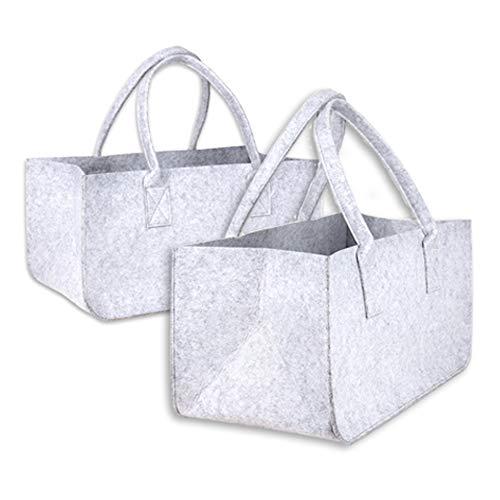 Schramm® 1 oder 2 Stück Filztasche Tasche aus Filz in hellgrau 50x25x25 cm Kaminholztasche Holzkorb Einkaufstasche Filzkorb Zeitungskorb Shopper Taschen Filztaschen, Anzahl:2