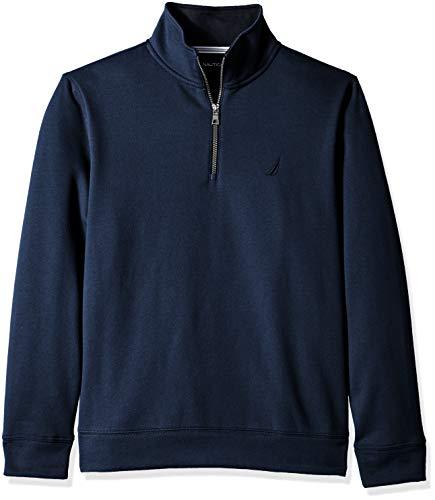 Nautica Men's Solid 1/4 Zip Fleece Sweatshirt, deep Navy Heather, X-Large