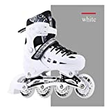 4 Size Adjustable Light Up Inline Roller Skates for Girls and Boys Inline Skates for Kids and Adults Men Women Adults Fun Flashing Illuminating Pu Wheels Roller Blades-White_L(5.5-7.5Uk,38-42Eu)