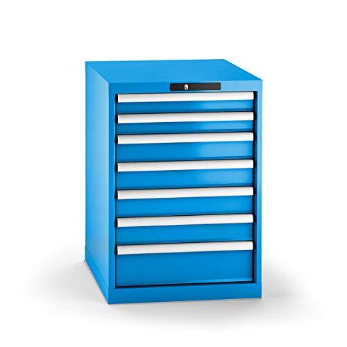 LISTA Schubladenschrank, Traglast/Schubl. 75 kg, 7 Schubladen: 2x75, 4x100, 1x150 mm, Zylinderschloss, BxT xH 564x725x800 mm, RAL 5012 lichtblau