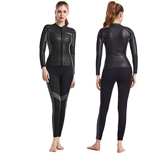Traje de Neopreno para Mujer De 2 Piezas, Negro Neopreno De 2,5mm Ultra Elástico Invierno Traje de Buceo de Surf, Cremallera Frontal, para Surf, Snorkel,Black-M