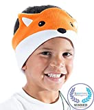 CozyPhones Kids Headphones Volume Limited with Thin Speakers & Super Soft Fleece Headband - Perfect Toddlers & Children's Earphones for Home, School & Travel - Fox