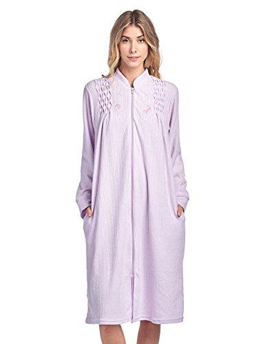 Casual Nights Women's Zipper Front Jacquard Terry Fleece Robe Duster - Purple - Large