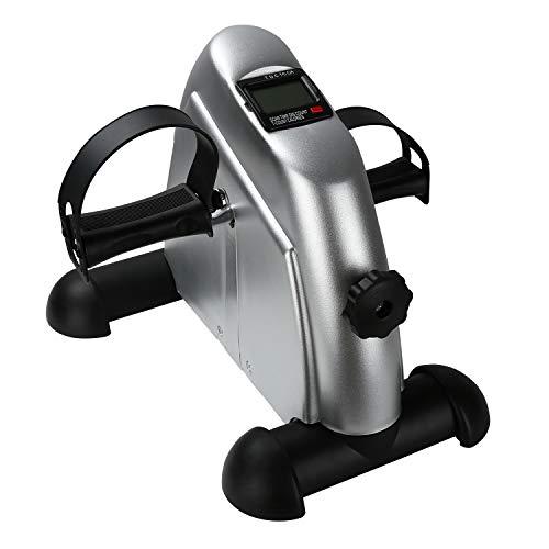 Hengda Mini Bicicleta Estática Pedales, para el Entrenamiento de Brazos y piernas de Ciclo de Pedal portátil con Monitor Digital y Antideslizante, Resistencia Ajustable, Plata