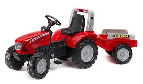 FALK - Tracteur à pédales Mc Cormick avec remorque - Dès 3 ans - Fabriqué en France - volant directionnel avec klaxon - Siège ajustable - 3020AB