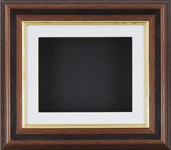 Caja profunda BabyRice marco para 2D 3D objetos de arte medalla de recuerdo para unos 1st patucos flores de oro de caoba/blanco BuyBits/forro negro