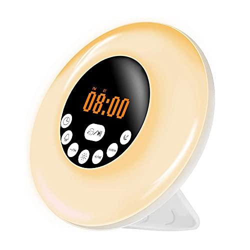 Apofly Despertador Despertador Despertador Luz De Descanso Amanecer Sunrise Atardecer Lámpara Simulación RGB 7 Colores Lámpara De Noche Led con Altavoz Bluetooth Radio FM