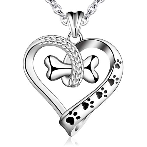 Silver Necklace for Women, 925 Sterling Silver Pet Paw Prints Pendant Dog Bones Necklace AEONSLOVE Jewellery with Gift Packed Best for Ladies Wife Girls