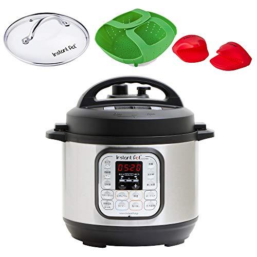 【国内正規輸入品】マルチ電気圧力鍋 Instant Pot 1台7役 Duo Mini 3.0L アマゾンオリジナルセット(ガラス蓋・ミトン・シリコンスチーマー付き) ブラック