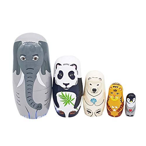 TOYANDONA 5 Stücke Holz Matroschka Tiere Puppe Elefant Panda Eisbär Tiger Pinguin Figur Matrjoschka Dekofigur Russische Matryoshka Weihnachten Tischdeko für Kinder Geschenke Mitgebsel Spielzeug