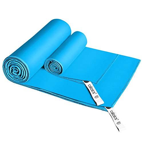 Mikrofaser Handtücher,Caloics® leichtes, schnell trocknendes saugfähiges&Antibakterielles Deodorant Mikrofaser-Badetuch 130 x 80 cm und 60 x 38cm für Reisen,Bad und Sport