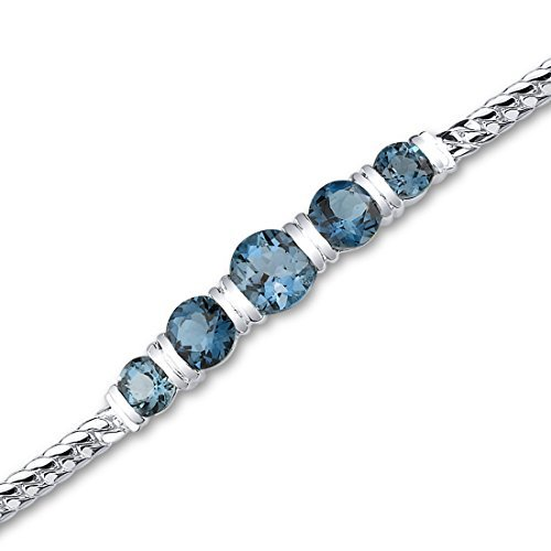 Peora London 5.00 Carat Blue Topaz Sterling Silver Bracelet