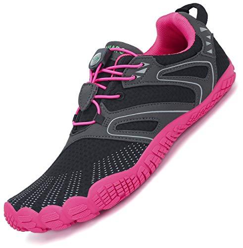 SAGUARO  Barfußschuhe Damen Minimalistische Traillaufschuhe Indoor Outdoor Fitnessschuhe, 41 EU, 59 Pink