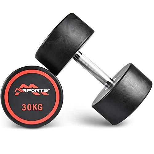 MSPORTS Rundhantel Premium 2er Set | Gummi Kurzhantel Beschichtung 2,5-50 kg | Griff verchromt und gerändelt | Verschiedene Gewichtsvarianten Hantel (2 x 30 kg)