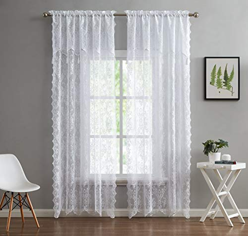 """LinenZone - English Rose Design - Lace Semi Sheer Voile Curtain Panels - Rod Pocket with Attached Valance and 6 Tassels Drapes - Set of 2 Total Width 108 inch (2 Panels 54"""" W x 96"""" L Each, White)"""