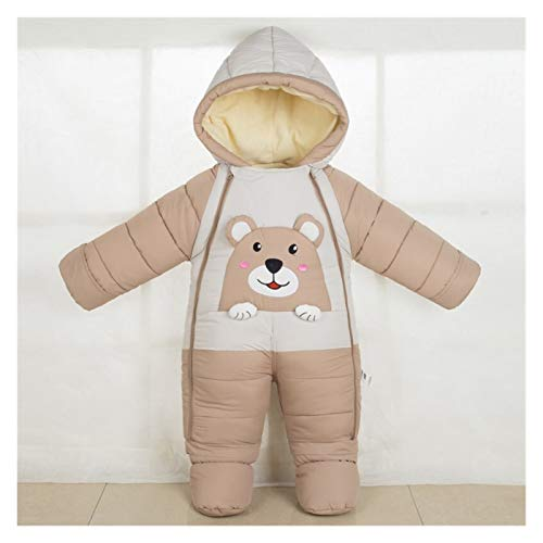 GuanRen Invierno Ropa de bebé Mamelucos con Capucha más Terciopelo cálido recién Nacido Snowsuit Girls globs niños pequeños Wrap Wrap mumpsuit (Color : Marrón, Size : 6M)