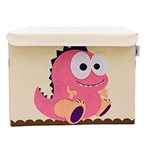 SVNVIOZ Large Toy Storage Chest Cute Animal Storage Bin with Flip-top Lid, Foldable Canvas Storage Toy Box/Bin/Cube/Chest/Basket/Organizer for Nursery Toddler Baby Kid Child (Dinosaur)