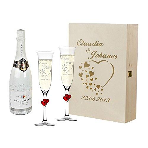 2 coppette da champagne con cuori rossi e bottiglia di champagne in confezione regalo, con...