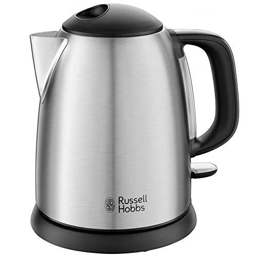 Russell Hobbs Mini-Wasserkocher Adventure Edelstahl, 1,0l, 2400W, Schnellkochfunktion, herausnehmbarer Kalkfilter, optimierte Ausgusstülle, kleiner Reisewasserkocher, kompakter Teekocher, 24991-70
