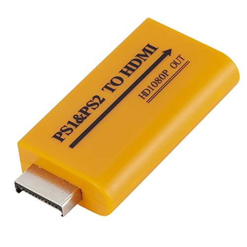 Esenlong Conversor de audio y vídeo de 1080p, salida PS1/PS2 a HDMI, compatible con 3,5 mm, para reproductor PS1 PS2 a HDMI, compatible con HDTV