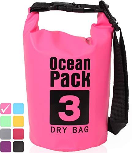 XENOBAG Wasserfeste Tasche 3 Liter o. 20 Liter/Dry Bag, klein/Ocean Pack 3l o. 20l / wasserdichter Beutel/Drybag mit verstellbarem Schultergurt und Sicherheitsverschluss (Pink, 20 Liter)