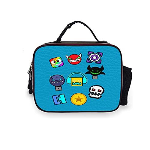 Geometry Dash – Icons Lunch Box con fodera imbottita, riutilizzabile termica in pelle PU, borsa...