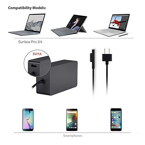 65W Charger for Microsoft Surface Pro 3 Pro 4 Surface Laptop Book Pro 5 2017 11Ft, Aaweal 15V 4A Adapter with USB Charging Port and 6Ft Supply Power Cord , Including a storage pouch bag Model 1706