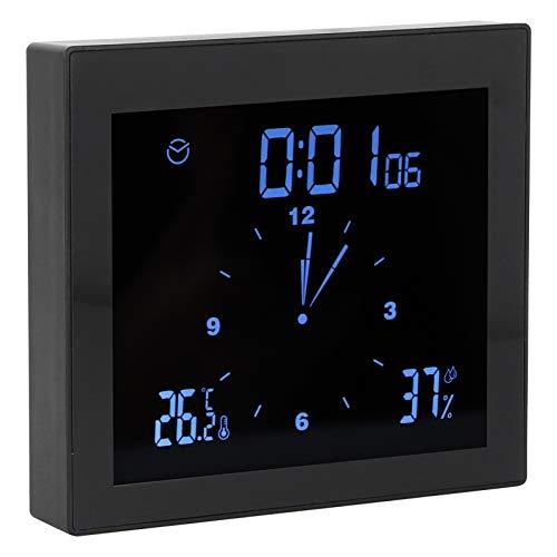 Reloj termohigrómetro, con función de repetición Reloj de pantalla táctil, multifuncional para oficina en casa(black)