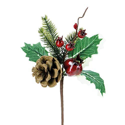 STEFANAZZI Lot de 6 décorations de Noël en Forme de pignons avec Pommes de pin et Baies Rouges pour décoration de Sapin de Noël - Idéal comme Centre de Table