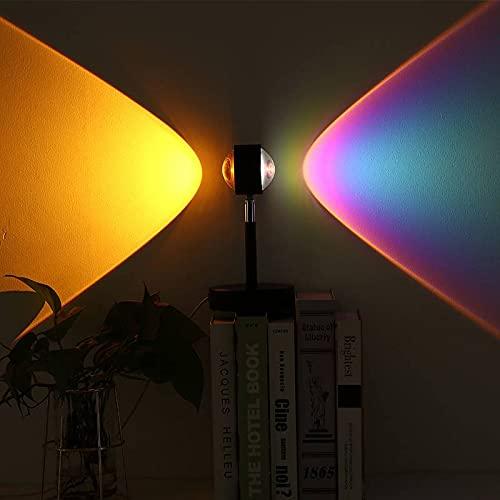 Tbaobei-Baby Sunset Lights USB Dual Head Sunset Rainbow lámpara de proyección dormitorio ambiente luz nocturna café decoración para boda visual rotación